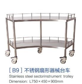 [b9]不锈钢扇形器械台车