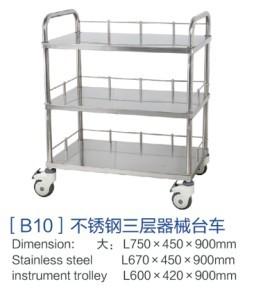 山东[b10]不锈钢三层器械台车