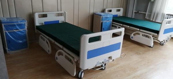 双摇护理床 中控刹车 四小护栏